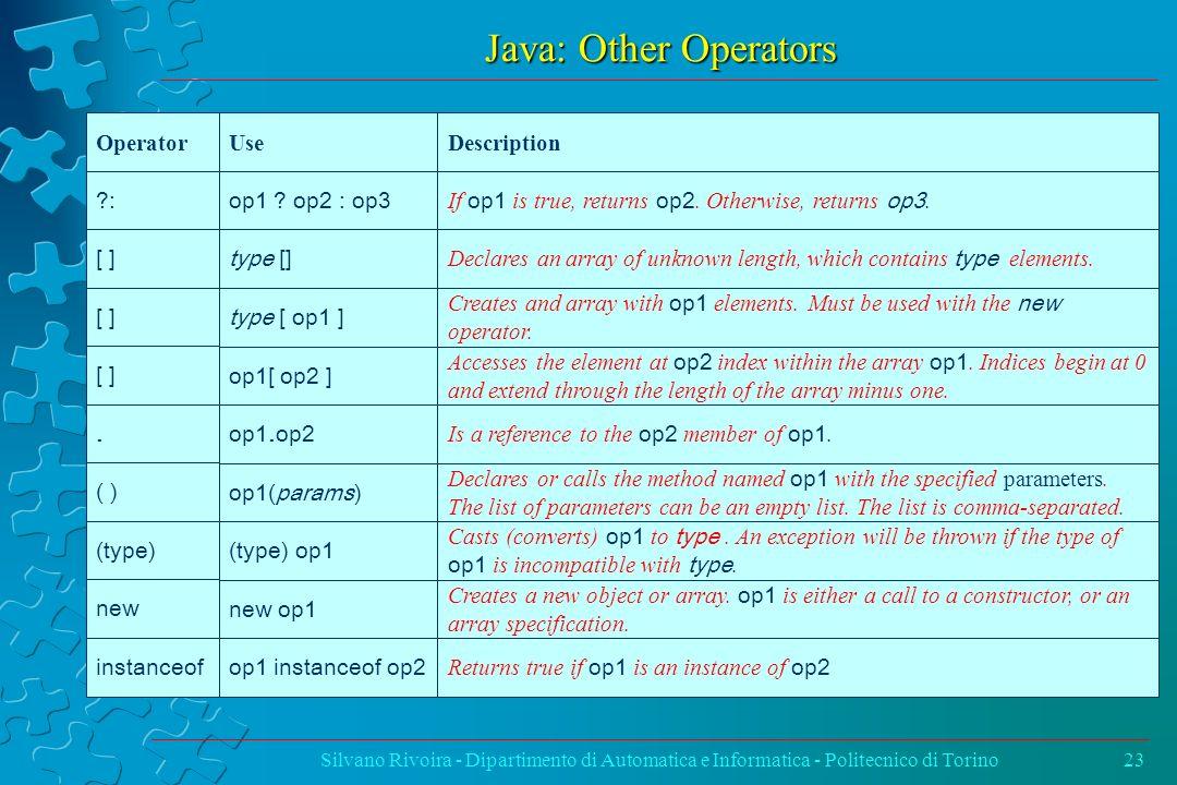 Java: Other Operators Silvano Rivoira - Dipartimento di Automatica e Informatica - Politecnico di Torino23 Operator UseDescription ?: op1 ? op2 : op3