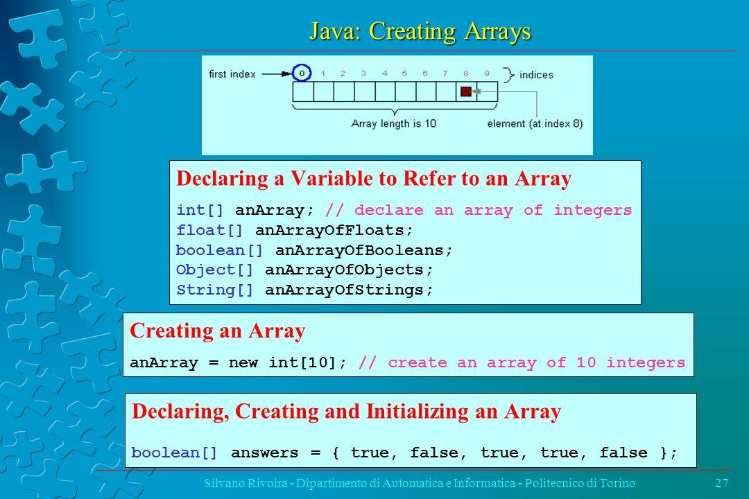 Java: Creating Arrays Silvano Rivoira - Dipartimento di Automatica e Informatica - Politecnico di Torino27 Declaring a Variable to Refer to an Array i