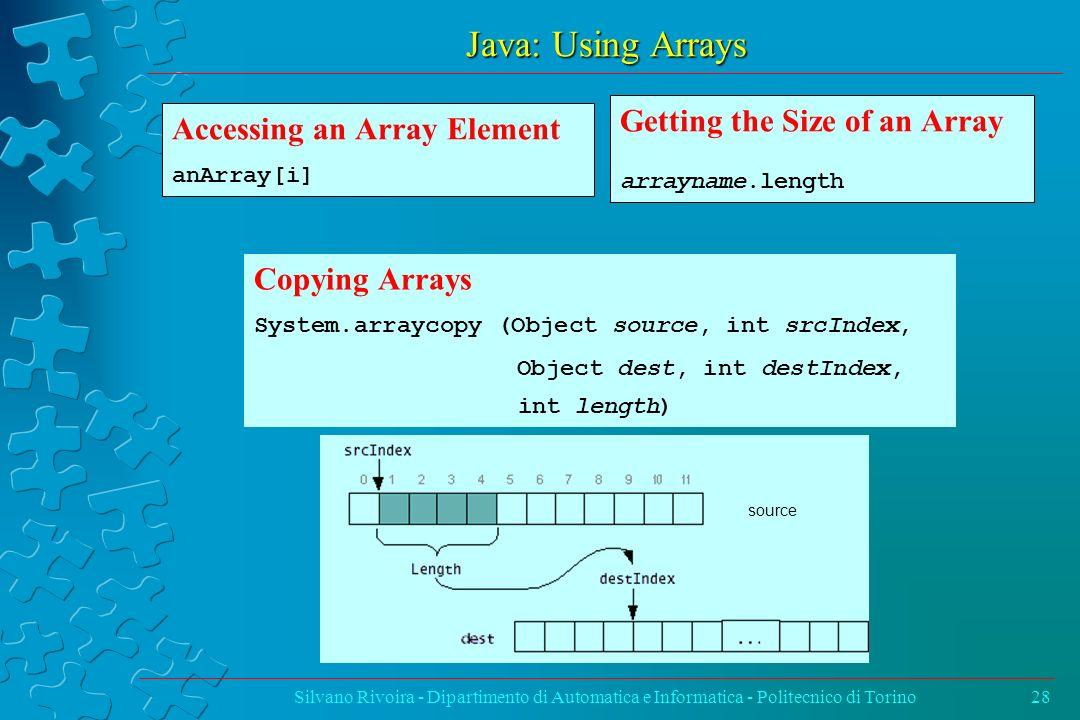 Java: Using Arrays Silvano Rivoira - Dipartimento di Automatica e Informatica - Politecnico di Torino28 Copying Arrays System.arraycopy (Object source