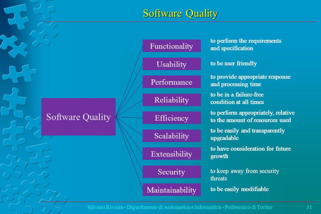Software Quality Silvano Rivoira - Dipartimento di Automatica e Informatica - Politecnico di Torino31 to perform appropriately, relative to the amount