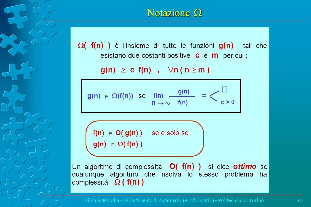 Notazione Notazione Silvano Rivoira - Dipartimento di Automatica e Informatica - Politecnico di Torino36 ( f(n) ) è l'insieme di tutte le funzioni g(n