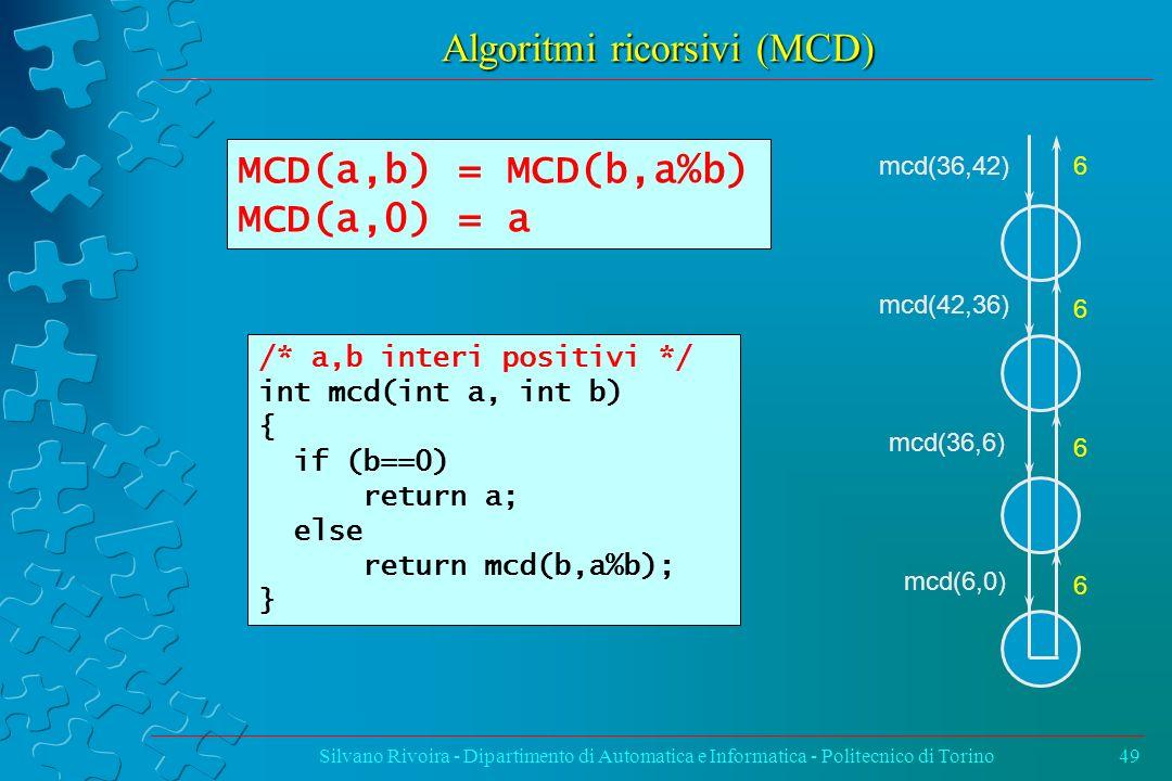 Algoritmi ricorsivi (MCD) Silvano Rivoira - Dipartimento di Automatica e Informatica - Politecnico di Torino49 /* a,b interi positivi */ int mcd(int a