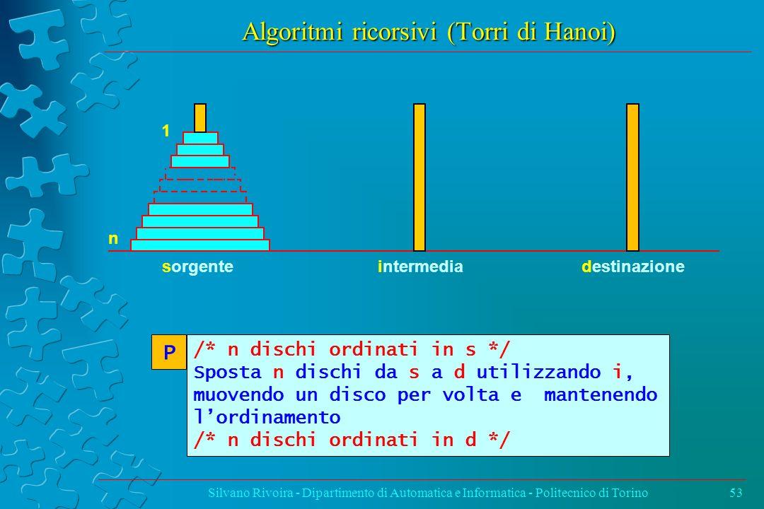 Algoritmi ricorsivi (Torri di Hanoi) Silvano Rivoira - Dipartimento di Automatica e Informatica - Politecnico di Torino53 n 1 sorgenteintermediadestin