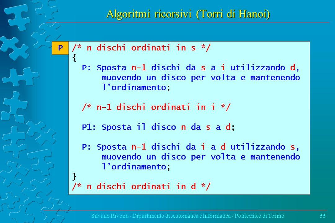 Algoritmi ricorsivi (Torri di Hanoi) Silvano Rivoira - Dipartimento di Automatica e Informatica - Politecnico di Torino55 /* n dischi ordinati in s */