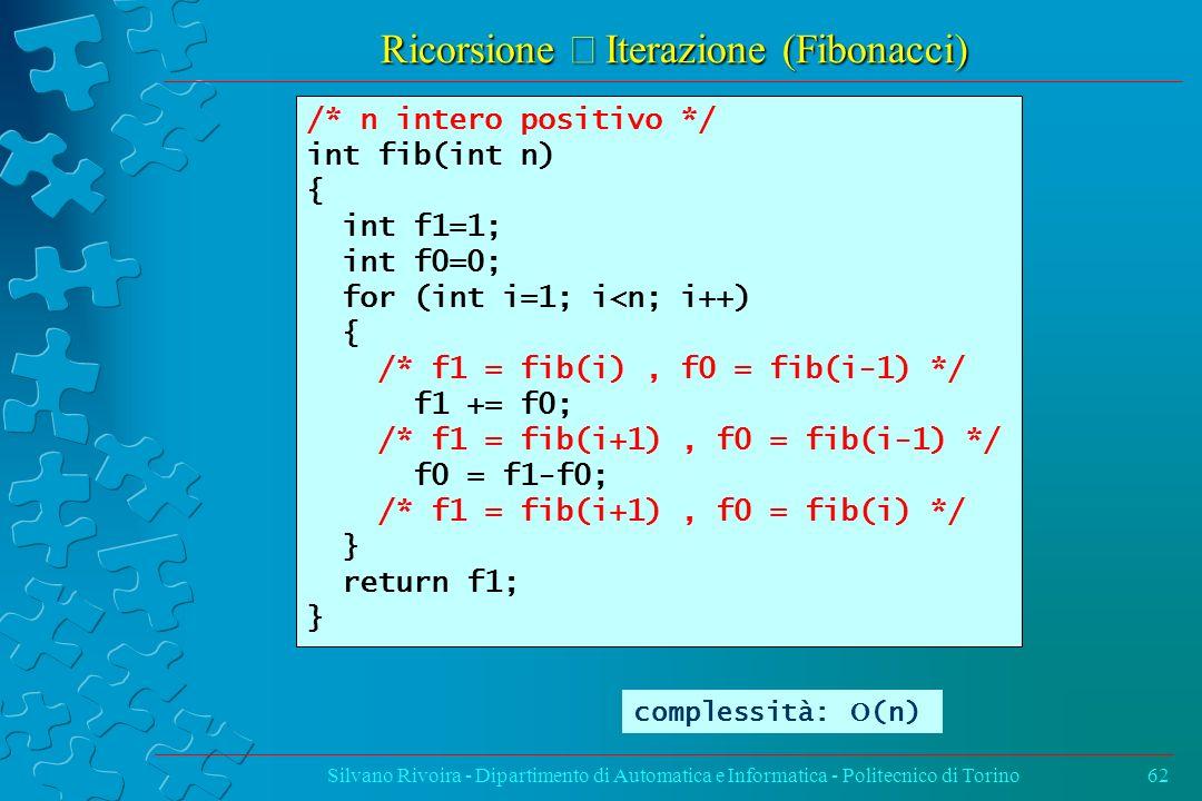 Ricorsione Iterazione (Fibonacci) Silvano Rivoira - Dipartimento di Automatica e Informatica - Politecnico di Torino62 /* n intero positivo */ int fib