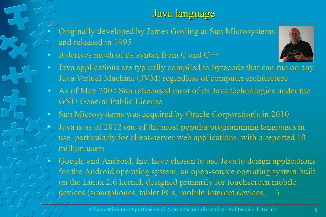 Ordinamento per inserimento Silvano Rivoira - Dipartimento di Automatica e Informatica - Politecnico di Torino69 void insertSort(int[] v) { int i,j,x; int n = v.length; for (i=1; i<n; i++) { x = v[i]; for (j=i-1; j>=0 && x<v[j]; j--) v[j+1] = v[j]; v[j+1] = x; } complessità: (n 2 )