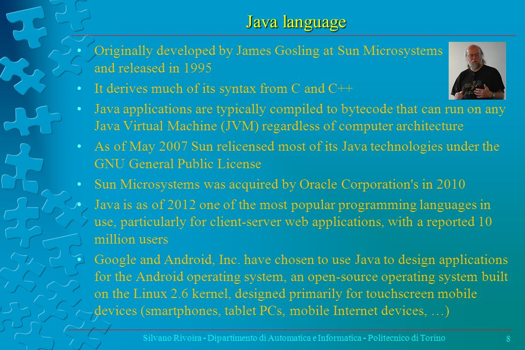 Java: Arithmetic Operators Silvano Rivoira - Dipartimento di Automatica e Informatica - Politecnico di Torino19 OperatorUse Description ++op++ Increments op by 1; evaluates to the value of op before it was incremented ++++op Increments op by 1; evaluates to the value of op after it was incremented --op-- Decrements op by 1; evaluates to the value of op before it was decremented ----op Decrements op by 1; evaluates to the value of op after it was decremented OperatorUseDescription +op1 + op2 Adds op1 and op2 -op1 - op2 Subtracts op2 from op1 *op1 * op2 Multiplies op1 by op2 /op1 / op2 Divides op1 by op2 %op1 % op2 Computes the remainder of dividing op1 by op2