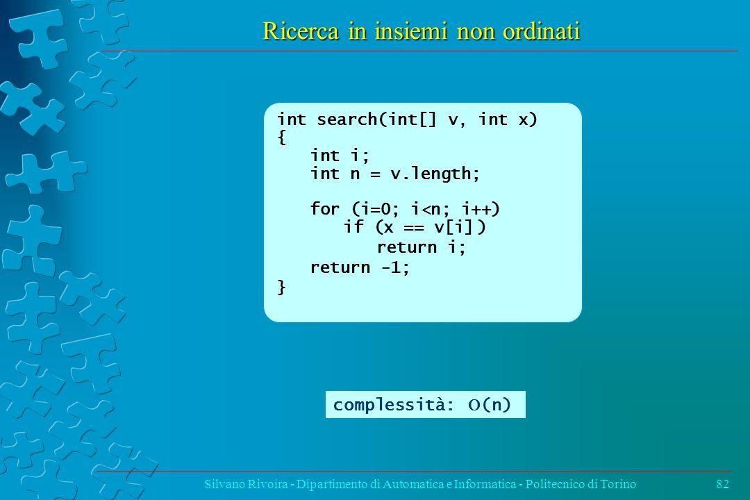 Ricerca in insiemi non ordinati Silvano Rivoira - Dipartimento di Automatica e Informatica - Politecnico di Torino82 int search(int[] v, int x) { int