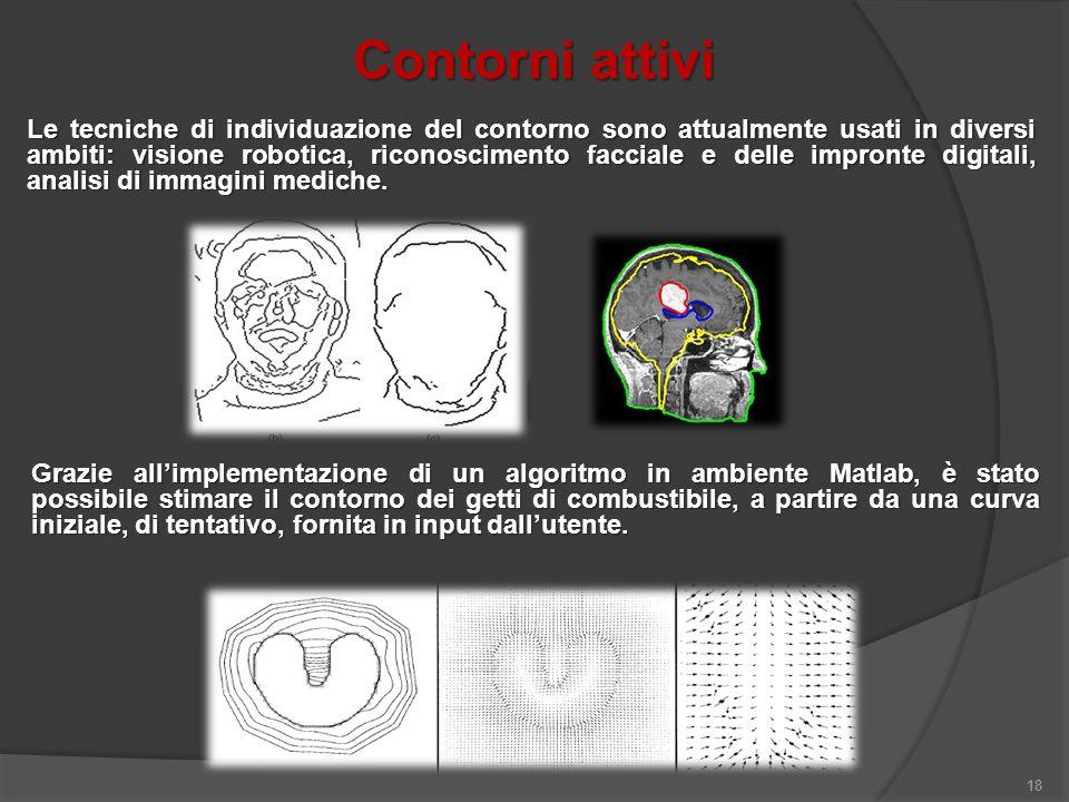 Contorni attivi 18 Le tecniche di individuazione del contorno sono attualmente usati in diversi ambiti: visione robotica, riconoscimento facciale e de