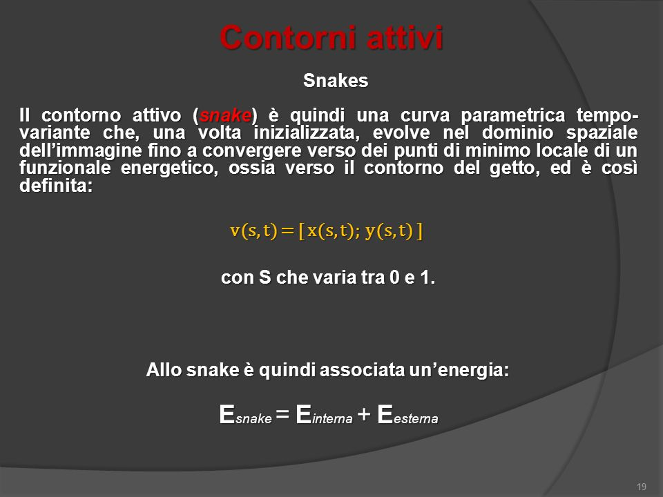 Contorni attivi 19 Il contorno attivo (snake) è quindi una curva parametrica tempo- variante che, una volta inizializzata, evolve nel dominio spaziale