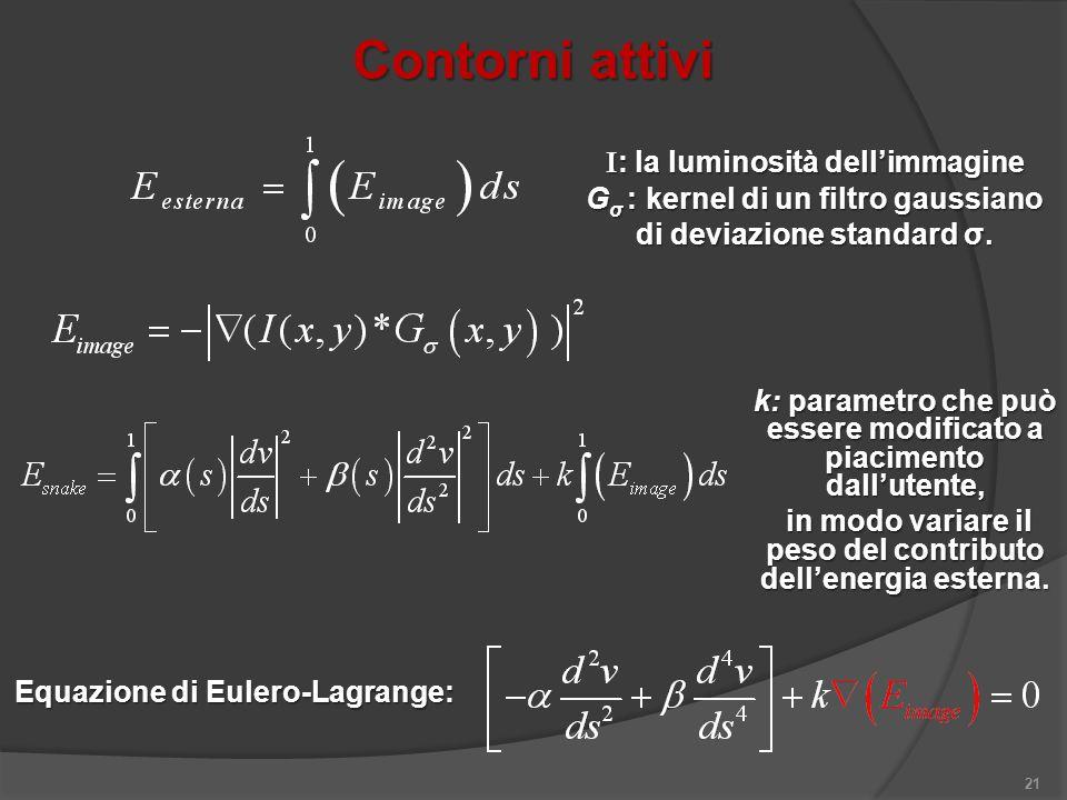 Contorni attivi 21 I : la luminosità dellimmagine G σ : kernel di un filtro gaussiano di deviazione standard σ. k: parametro che può essere modificato