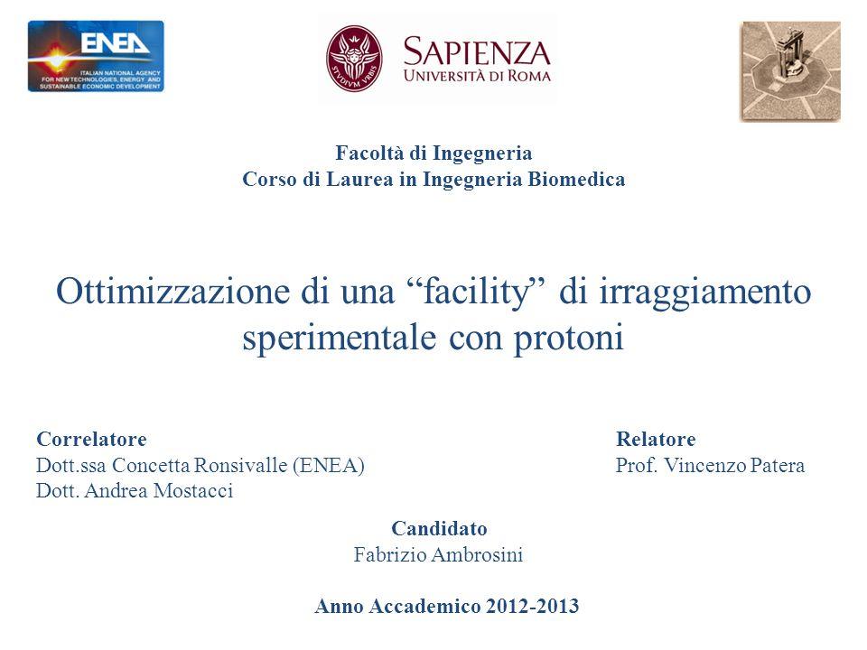 Facoltà di Ingegneria Corso di Laurea in Ingegneria Biomedica Ottimizzazione di una facility di irraggiamento sperimentale con protoni CorrelatoreRelatore Dott.ssa Concetta Ronsivalle (ENEA)Prof.