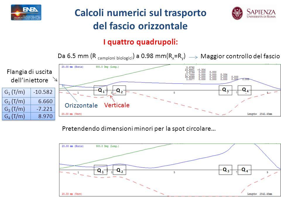 I quattro quadrupoli: Calcoli numerici sul trasporto del fascio orizzontale Da 6.5 mm (R campioni biologici ) a 0.98 mm(R x =R y ) Pretendendo dimensioni minori per la spot circolare… Maggior controllo del fascio Flangia di uscita delliniettore