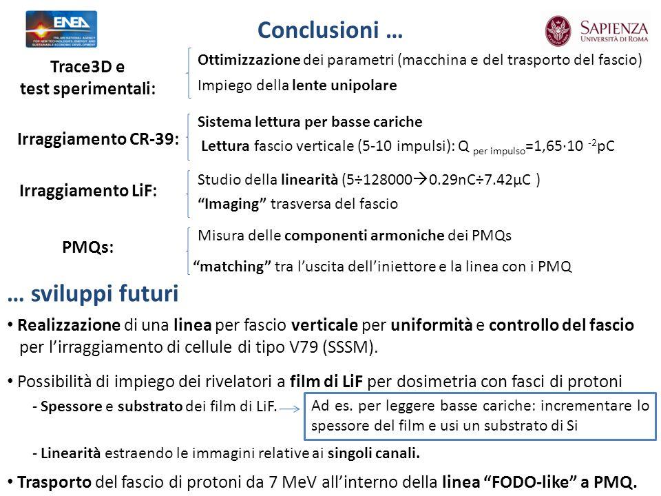 Conclusioni … Realizzazione di una linea per fascio verticale per uniformità e controllo del fascio per lirraggiamento di cellule di tipo V79 (SSSM).