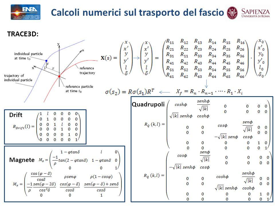 Calcoli numerici sul trasporto del fascio TRACE3D: Drift Magnete Quadrupoli