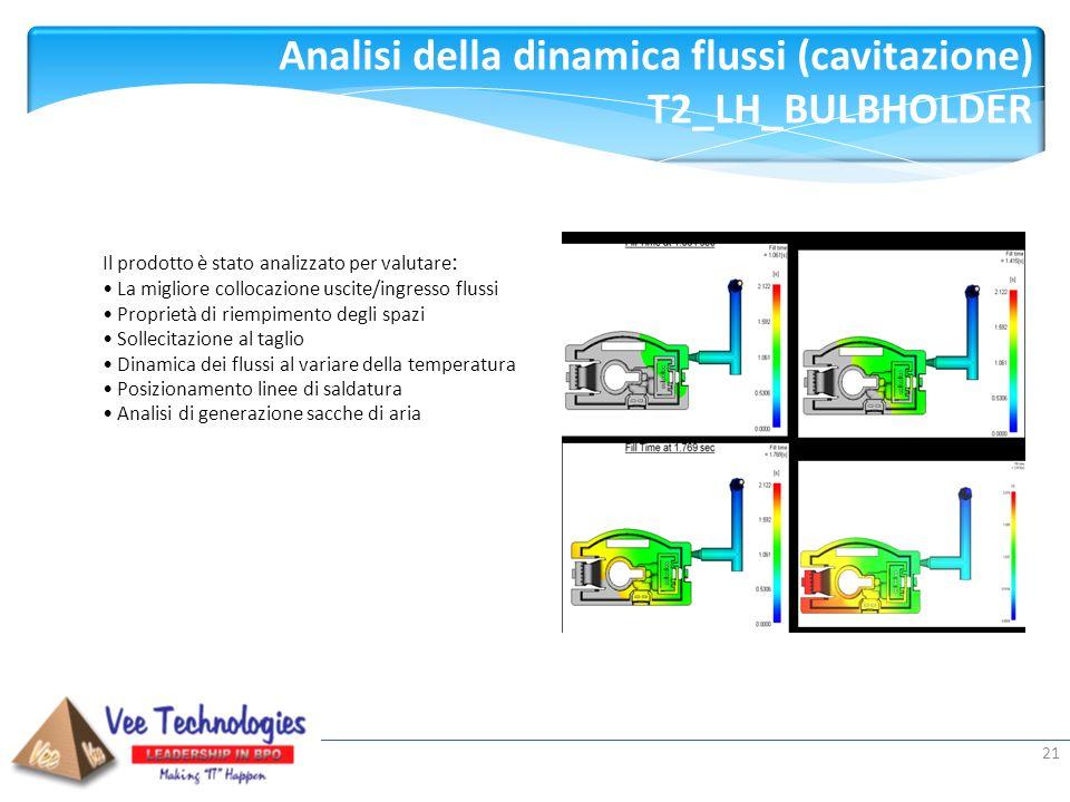 Presented by: Analisi della dinamica flussi (cavitazione) T2_LH_BULBHOLDER 21 Il prodotto è stato analizzato per valutare : La migliore collocazione u