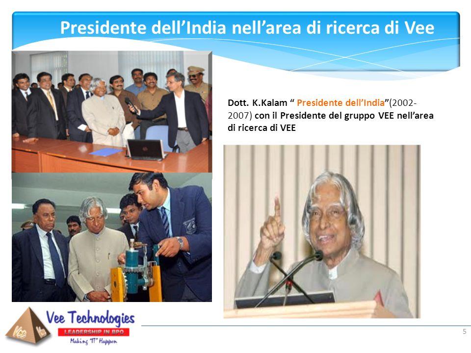 Presented by: Presidente dellIndia nellarea di ricerca di Vee 5 Dott. K.Kalam Presidente dellIndia(2002- 2007) con il Presidente del gruppo VEE nellar