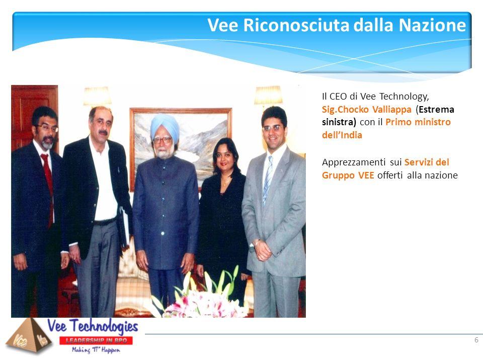 Presented by: Vee Riconosciuta dalla Nazione 6 Il CEO di Vee Technology, Sig.Chocko Valliappa (Estrema sinistra) con il Primo ministro dellIndia Appre