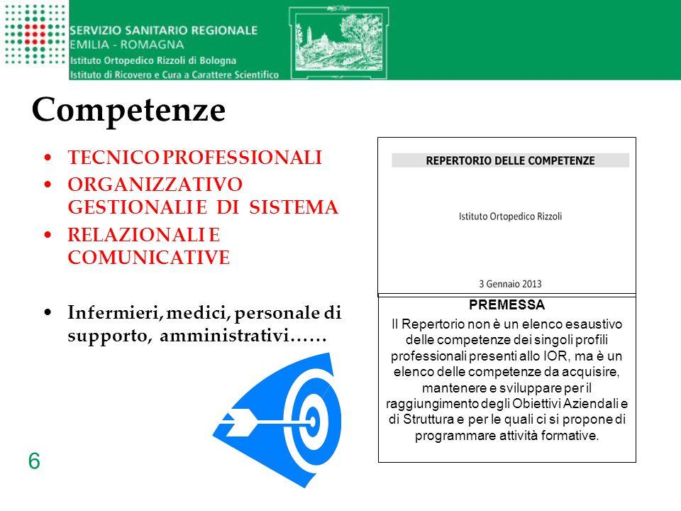 6 Competenze TECNICO PROFESSIONALI ORGANIZZATIVO GESTIONALI E DI SISTEMA RELAZIONALI E COMUNICATIVE Infermieri, medici, personale di supporto, amminis