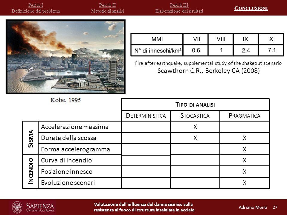 Valutazione dell influenza del danno sismico sulla resistenza al fuoco di strutture intelaiate in acciaio P ARTE I Definizione del problema P ARTE II Metodo di analisi P ARTE III Elaborazione dei risultati C ONCLUSIONI Accelerazione massima Durata della scossa Forma accelerogramma S ISMA Curva di incendio Posizione innesco Evoluzione scenari I NCENDIO D ETERMINISTICA S TOCASTICA P RAGMATICA X XX X X X X T IPO DI ANALISI Adriano Monti 27 Fire after earthquake, supplemental study of the shakeout scenario Scawthorn C.R., Berkeley CA (2008)