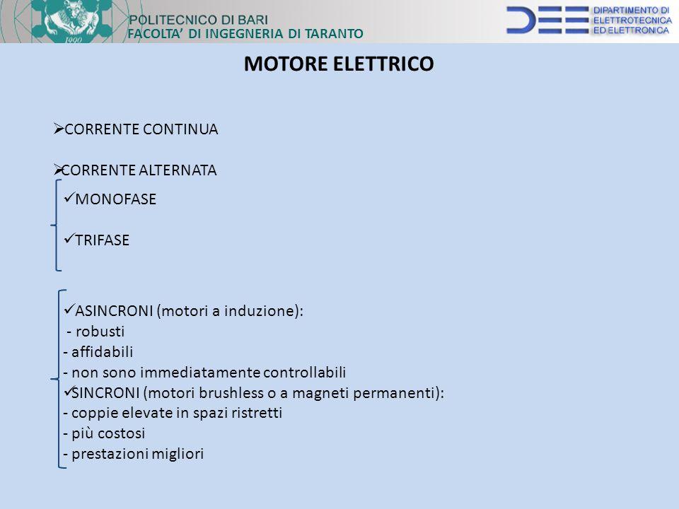 FACOLTA DI INGEGNERIA DI TARANTO MOTORE ELETTRICO CORRENTE CONTINUA CORRENTE ALTERNATA ASINCRONI (motori a induzione): - robusti - affidabili - non so