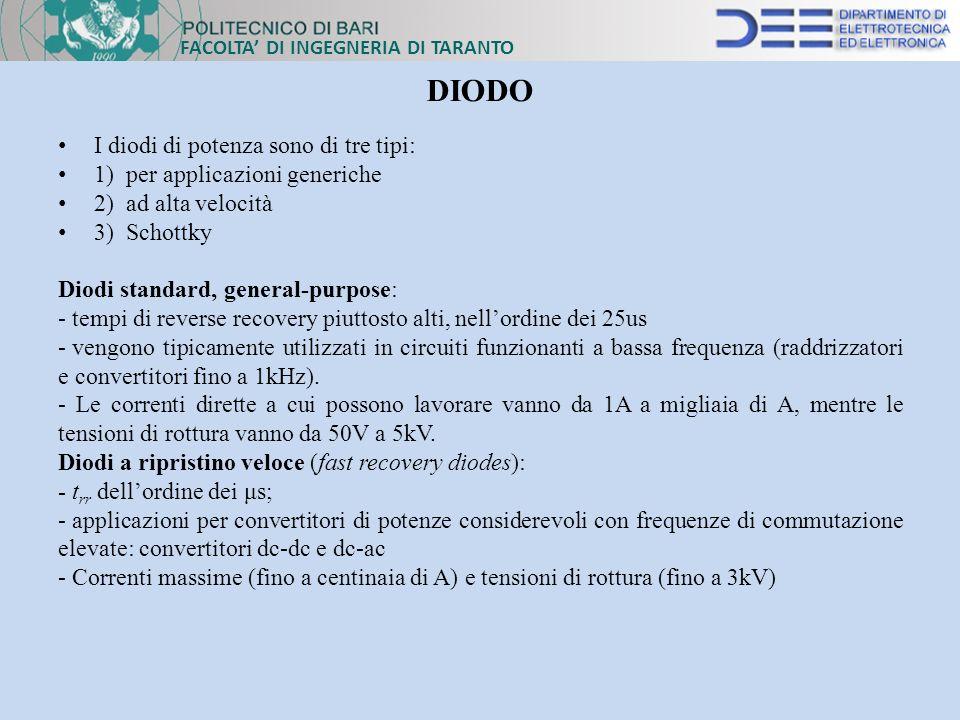 I diodi di potenza sono di tre tipi: 1) per applicazioni generiche 2) ad alta velocità 3) Schottky Diodi standard, general-purpose: - tempi di reverse