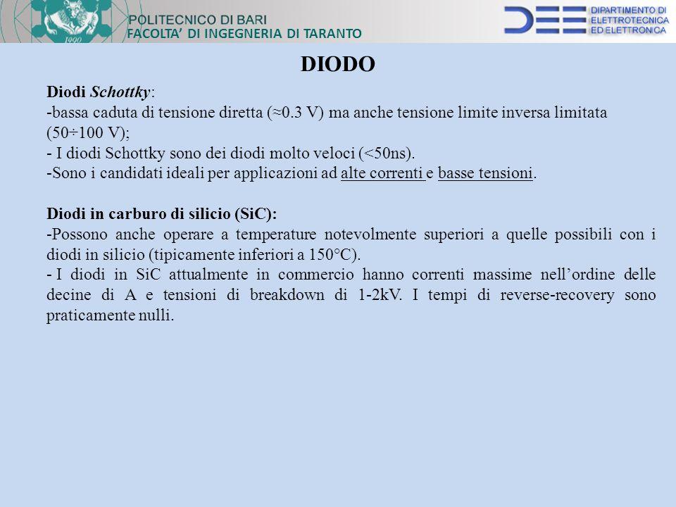 FACOLTA DI INGEGNERIA DI TARANTO DIODO Diodi Schottky: -bassa caduta di tensione diretta (0.3 V) ma anche tensione limite inversa limitata (50÷100 V);