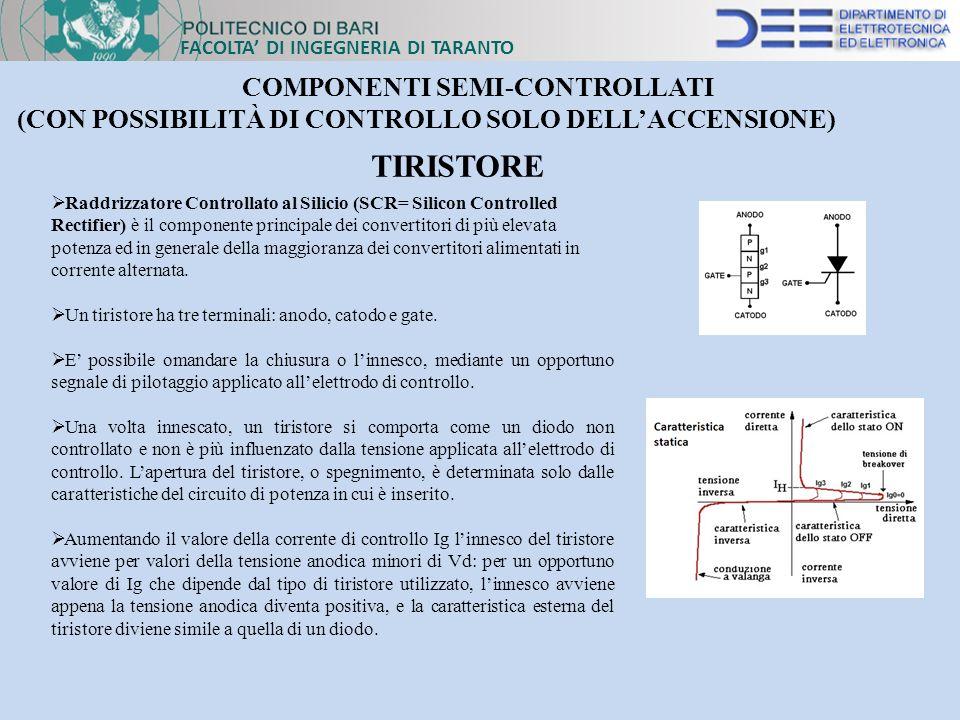 FACOLTA DI INGEGNERIA DI TARANTO COMPONENTI SEMI-CONTROLLATI (CON POSSIBILITÀ DI CONTROLLO SOLO DELLACCENSIONE) Raddrizzatore Controllato al Silicio (