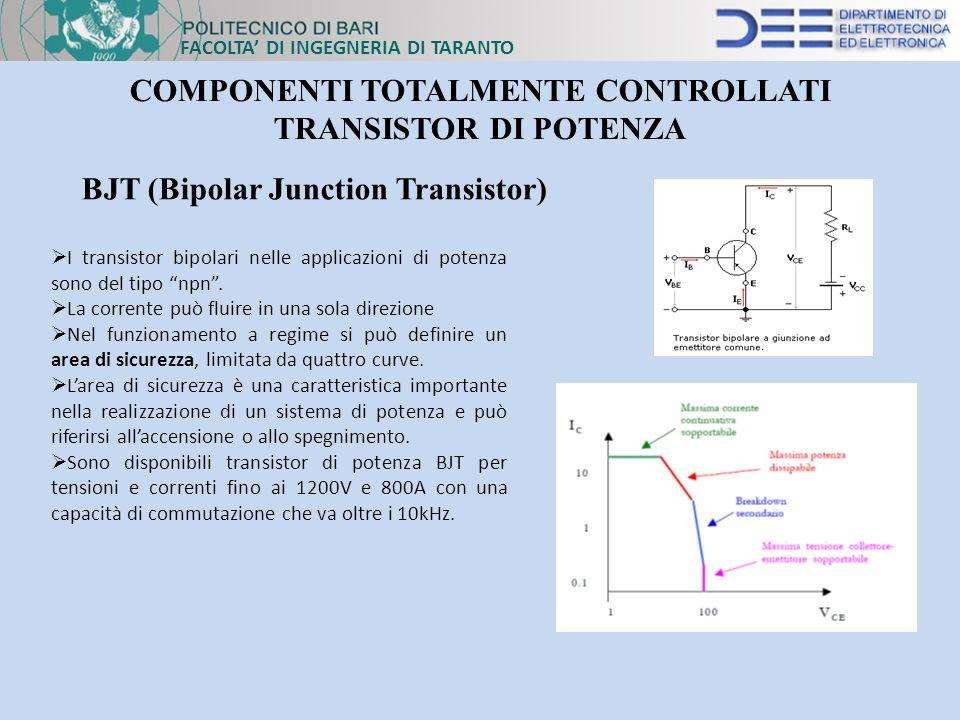 FACOLTA DI INGEGNERIA DI TARANTO COMPONENTI TOTALMENTE CONTROLLATI TRANSISTOR DI POTENZA BJT (Bipolar Junction Transistor) I transistor bipolari nelle