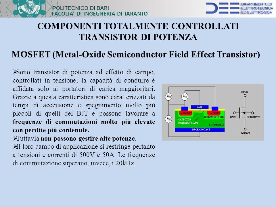 FACOLTA DI INGEGNERIA DI TARANTO COMPONENTI TOTALMENTE CONTROLLATI TRANSISTOR DI POTENZA MOSFET (Metal-Oxide Semiconductor Field Effect Transistor) So