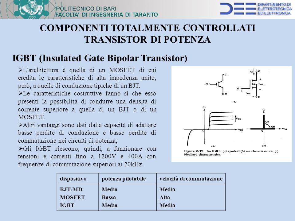 FACOLTA DI INGEGNERIA DI TARANTO COMPONENTI TOTALMENTE CONTROLLATI TRANSISTOR DI POTENZA IGBT (Insulated Gate Bipolar Transistor) Larchitettura è quel