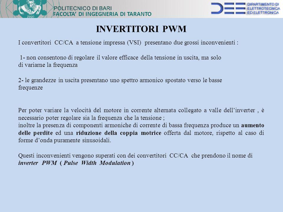 FACOLTA DI INGEGNERIA DI TARANTO INVERTITORI PWM I convertitori CC/CA a tensione impressa (VSI) presentano due grossi inconvenienti : 1- non consenton