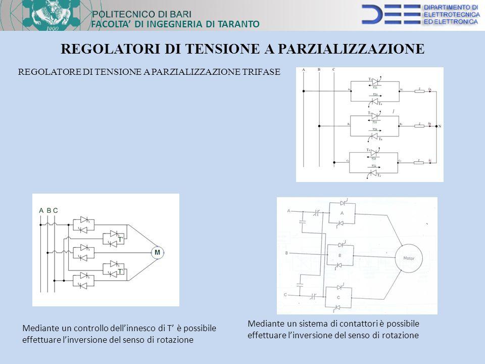 FACOLTA DI INGEGNERIA DI TARANTO REGOLATORI DI TENSIONE A PARZIALIZZAZIONE REGOLATORE DI TENSIONE A PARZIALIZZAZIONE TRIFASE Mediante un sistema di co
