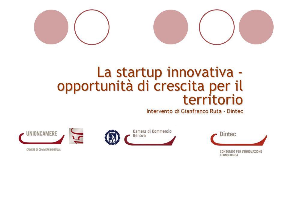 La startup innovativa - opportunità di crescita per il territorio Intervento di Gianfranco Ruta - Dintec