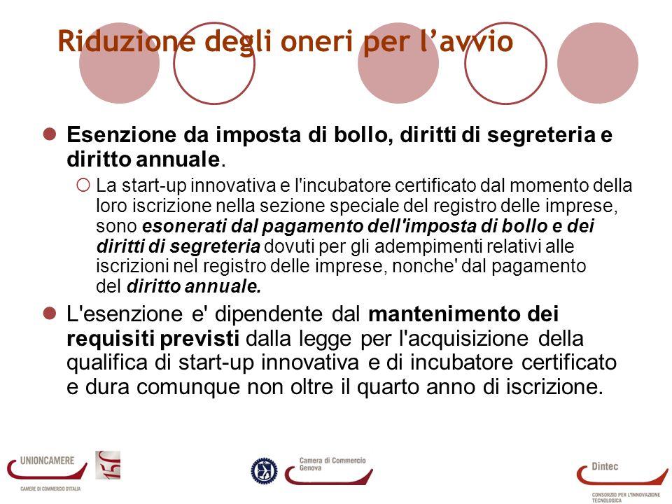 Riduzione degli oneri per lavvio Esenzione da imposta di bollo, diritti di segreteria e diritto annuale.
