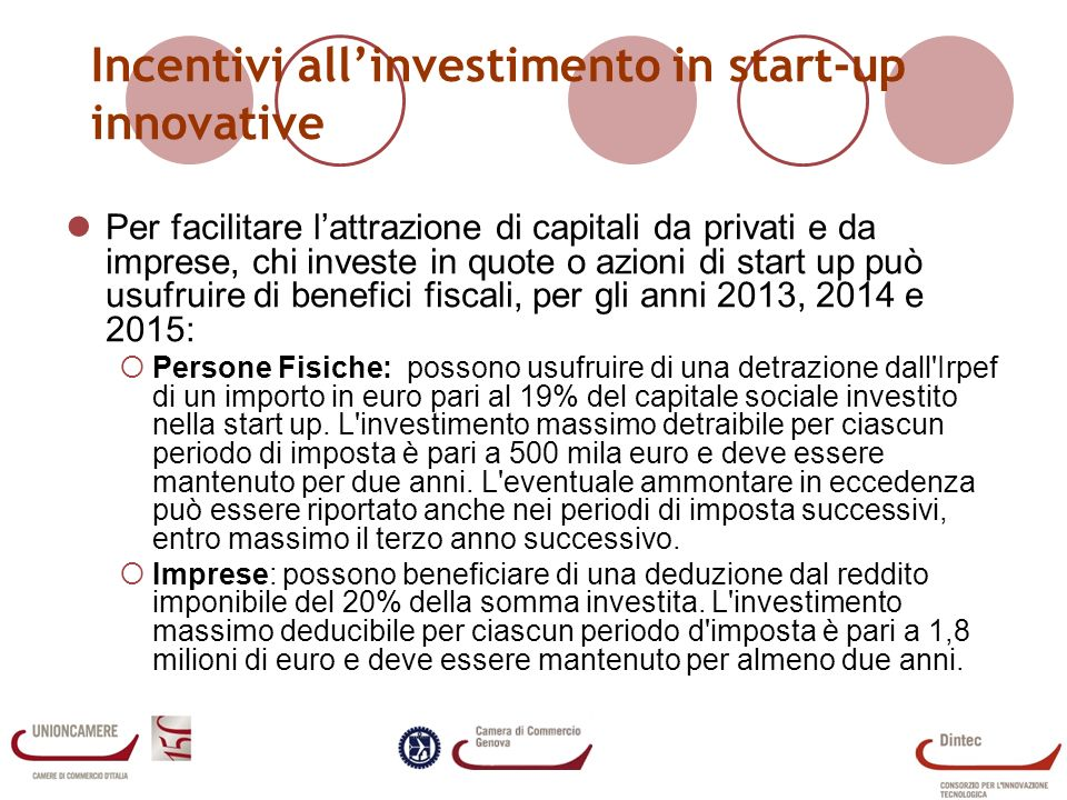 Incentivi allinvestimento in start-up innovative Per facilitare lattrazione di capitali da privati e da imprese, chi investe in quote o azioni di star