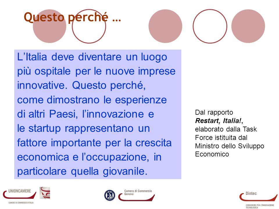 Questo perché … LItalia deve diventare un luogo più ospitale per le nuove imprese innovative.