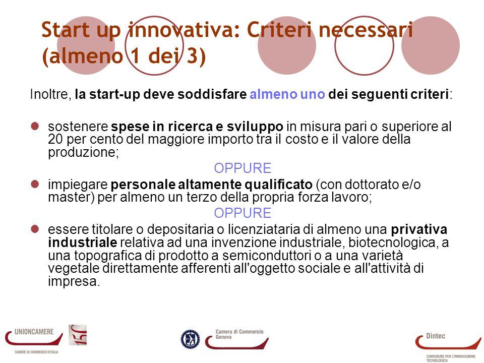 Il registro delle Start-UP Le start-up registrate, al 12 marzo, sono 307 Localizzate principalmente tra Piemonte (50), Lombardia (47) e Veneto (39) A Genova sono registrate 14 start up (3 nate nel 2009, 4 nel 2010, 7 nel 2012) Dati Unioncamere.