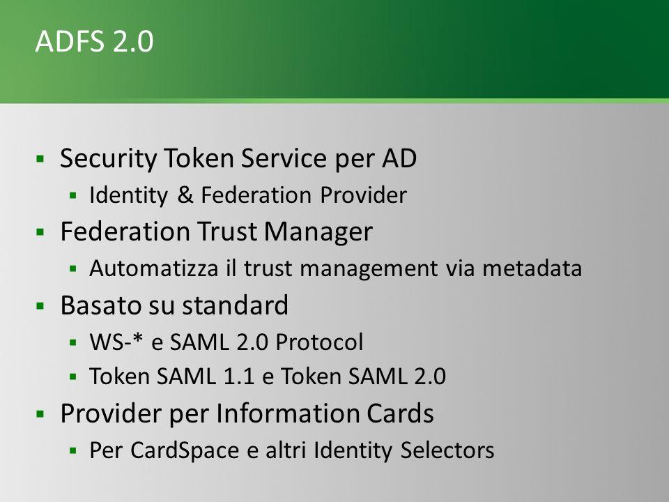 ADFS 2.0 Security Token Service per AD Identity & Federation Provider Federation Trust Manager Automatizza il trust management via metadata Basato su