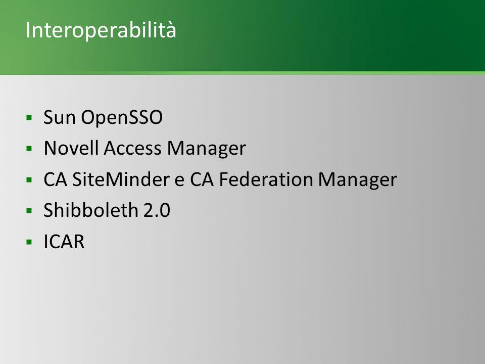 Interoperabilità Sun OpenSSO Novell Access Manager CA SiteMinder e CA Federation Manager Shibboleth 2.0 ICAR
