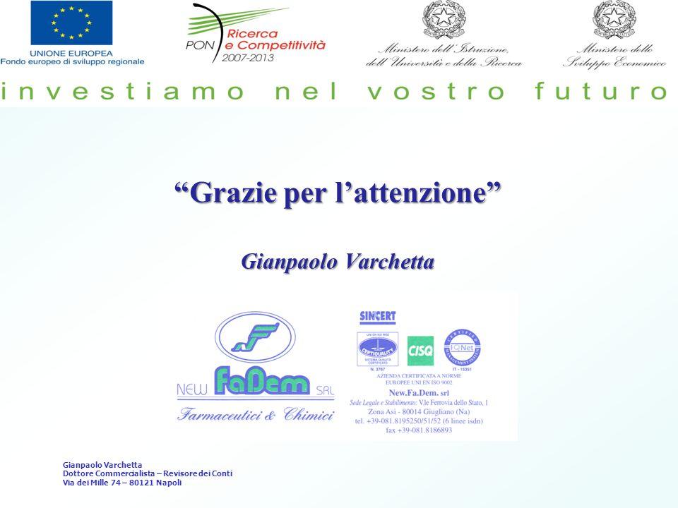Grazie per lattenzione Gianpaolo Varchetta Dottore Commercialista – Revisore dei Conti Via dei Mille 74 – 80121 Napoli