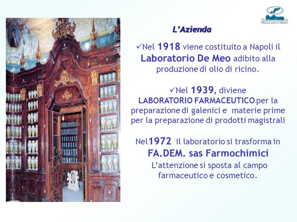 Nel 1918 viene costituito a Napoli il Laboratorio De Meo adibito alla produzione di olio di ricino. Nel 1939, diviene LABORATORIO FARMACEUTICO per la