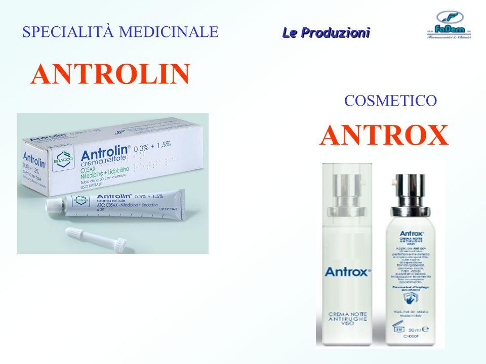 SPECIALITÀ MEDICINALE ANTROLIN COSMETICO ANTROX Le Produzioni
