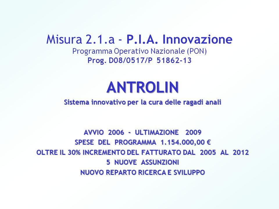 Misura 2.1.a - P.I.A. Innovazione Programma Operativo Nazionale (PON) Prog. D08/0517/P 51862-13 ANTROLIN Sistema innovativo per la cura delle ragadi a