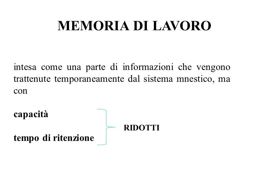 MEMORIA DI LAVORO intesa come una parte di informazioni che vengono trattenute temporaneamente dal sistema mnestico, ma con capacità tempo di ritenzione RIDOTTI