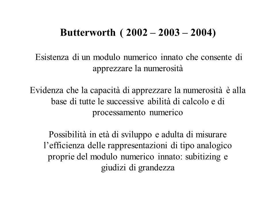 Butterworth ( 2002 – 2003 – 2004) Esistenza di un modulo numerico innato che consente di apprezzare la numerosità Evidenza che la capacità di apprezzare la numerosità è alla base di tutte le successive abilità di calcolo e di processamento numerico Possibilità in età di sviluppo e adulta di misurare lefficienza delle rappresentazioni di tipo analogico proprie del modulo numerico innato: subitizing e giudizi di grandezza