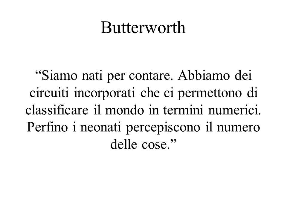 Butterworth Siamo nati per contare. Abbiamo dei circuiti incorporati che ci permettono di classificare il mondo in termini numerici. Perfino i neonati