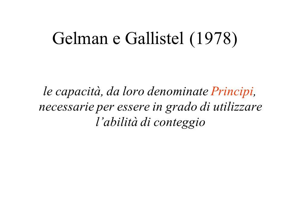 Gelman e Gallistel (1978) le capacità, da loro denominate Principi, necessarie per essere in grado di utilizzare labilità di conteggio