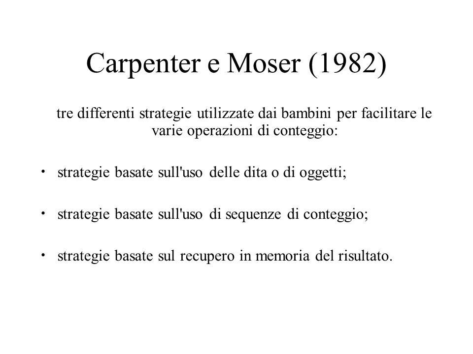 Carpenter e Moser (1982) tre differenti strategie utilizzate dai bambini per facilitare le varie operazioni di conteggio: strategie basate sull'uso de