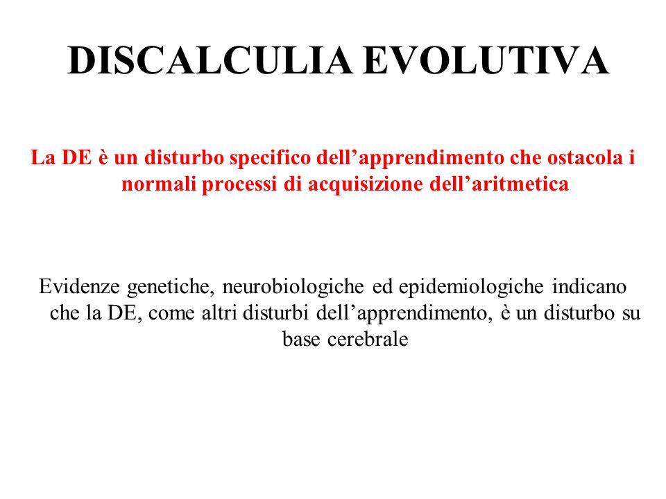DISCALCULIA EVOLUTIVA La DE è un disturbo specifico dellapprendimento che ostacola i normali processi di acquisizione dellaritmetica Evidenze genetich